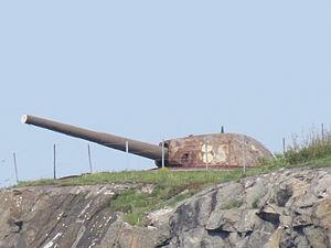 Naval gun at Älvsborgs fästning in Gothenburg.JPG