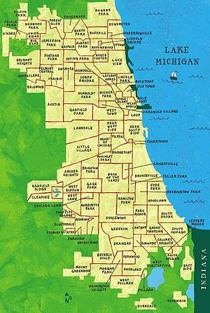 Gentrification of Chicago - Map depicting Chicago's neighborhoods. Humboldt Park is located in the center of the city and Bronzeville within Douglas.