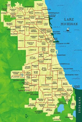 English: Map of the neighborhoods of Chicago.