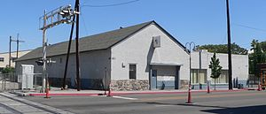 Nevada-California-Oregon Railway Locomotive House and Machine Shop - View from the south-southwest, across 4th Street
