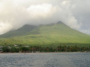 Nevis Peak - View of Pinney's Beach with Nevis Peak in the background, taken from the Nevis ferry.