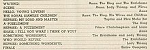 "Detail of page 15 from a theatre program showing a partial song list that includes the songs ""Waiting"" and ""Who Would Refuse"""