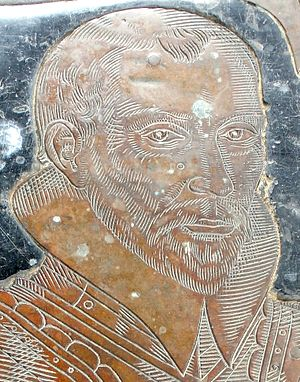Nicholas Wadham (1531–1609) - Nicholas Wadham (d.1609), detail from his monumental brass in St Mary's Church, Ilminster