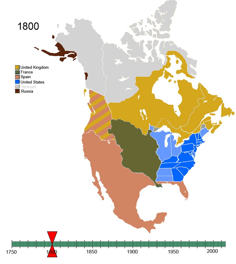 Non-Native American Nations Control over N America 1800