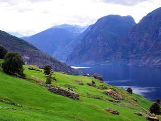 Aurland - View of mountains and fjords in Aurland