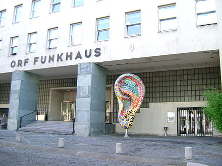 Front and side entrances of the Funkhaus Wien at Argentinierstraße in Vienna, today chiefly a centre for the production of radio programmes
