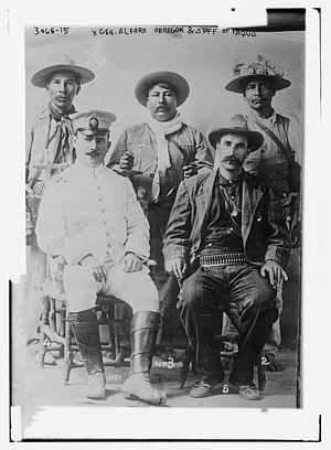 Álvaro Obregón - Gen. Obregón and staff of Yaquis, c1913.