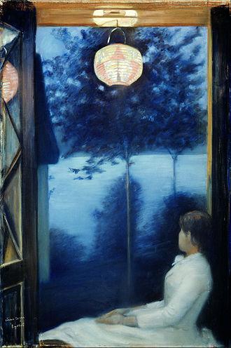 Oda Krohg - Debut work By the Oslofjord (Japanese lantern), 1886