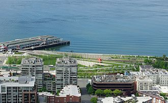 Olympic Sculpture Park - Image: Olympic Sculpture Park from Space Needle Seattle