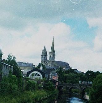 Omagh - Omagh as seen from the Strule bridge. In the background is the Sacred Heart Catholic church.