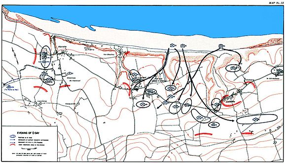 Official history map showing extent of advances made by evening. Omaha Beach 1944 Evening.jpg