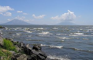 The island Ometepe seen from the shore. Concep...