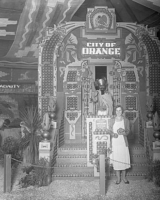 Orange, California - City of Orange's exhibit for the 1931 Valencia Orange Show, depicting Montezuma in an Aztec temple