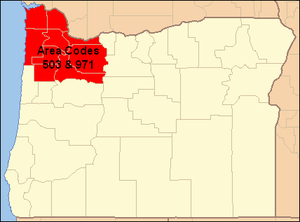 Area codes 503 and 971 - Image: Oregon Area Codes 503 & 971