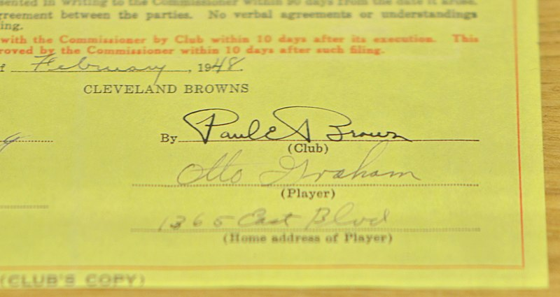File:Otto Graham's Cleveland Browns Contract (11282138634).jpg