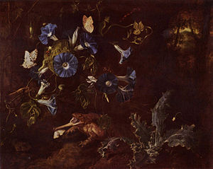 Otto Marseus van Schrieck - Morning glory, toad, and insects, 1660