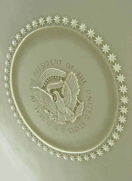 Plaster ceiling medallion installed in 1934 includes elements of the Seal of the President of the United States. OvalMedallion.jpg