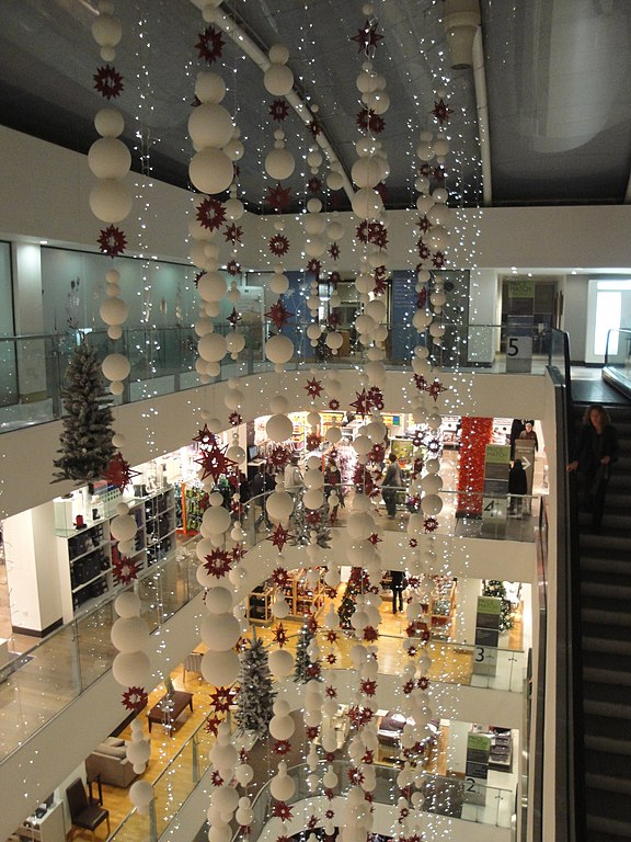 Christmas lights, in the John Lewis store in Oxford Street ...