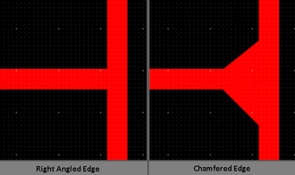 Right angled and chamfered intersections of a PCB track PCBChamfer.PNG