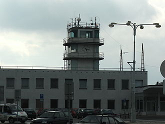 Václav Havel Airport Prague - Old control tower built in 1937 (rear view) – now part of Terminal 4