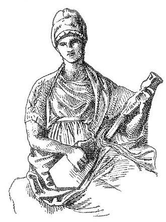 Pandura - Modern lithograph of a bas relief from Mantineia (4th century BC), exhibited at National Archaeological Museum of Athens. The image shows a muse playing a pandoura, and the original is the oldest image of a pandoura currently known.