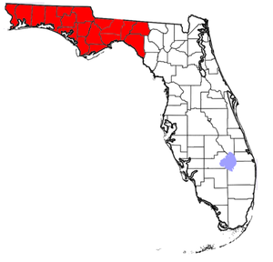 Florida Panhandle - Map showing Florida counties that may be included in references to the Panhandle; the eastern extent of the Panhandle is arbitrarily defined and may vary.