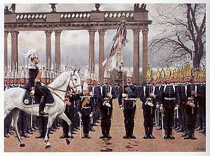 Campaign streamer - Parade in Lustgarten 9 February 1894 by Carl Röchling; ribbons can be seen attached to the flag in the center.