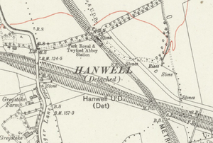 Park Royal & Twyford Abbey tube station - The station on a 1920 map