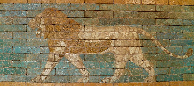 File:Passing lion, brick panel from the Procession Way which ran from the Marduk temple to the Ishtar Gate and the Akitu Temple. Glazed terracotta, reign of Nebuchadrezzar II (605 BC–562 BC), Babylon (Iraq).Louvre Museum (12251455183).jpg