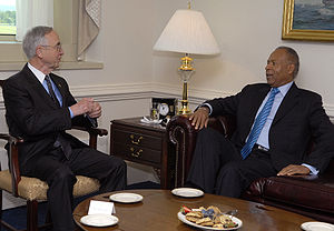 Patrick Manning - United States Deputy Secretary of Defense Gordon R. England, left, talks with Prime Minister of Trinidad and Tobago Patrick Manning during a closed-door meeting inside The Pentagon 23 June 2008.