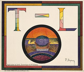 Théâtre Libre - Paul Signac, Application of Charles Henry's Chromatic Circle; Théâtre-Libre playbill of January 31, 1889.