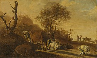 Landscape with Resting Cows and Goats