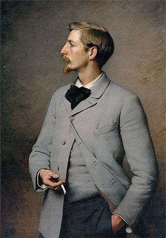 1890s in Western fashion - Early 1890s fashion includes gray coat with covered buttons and matching waistcoat, dark trousers, short turnover shirt collar, and floppy bow tie. The short hair and pointed beard are typical. Portrait of Paul Wayland Bartlett by Pearce, 1890
