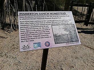 Fountain Hills, Arizona - Plaque commemorating the original Pemberton Ranch site, just north of modern Fountain Hills.
