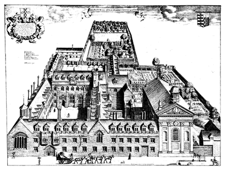 Bird's eye view of Pembroke College, Cambridge by David Loggan, published in 1690. Pembroke College, Cambridge by Loggan 1690 - gbooks prG KpObd3UC PA80-IA1.png