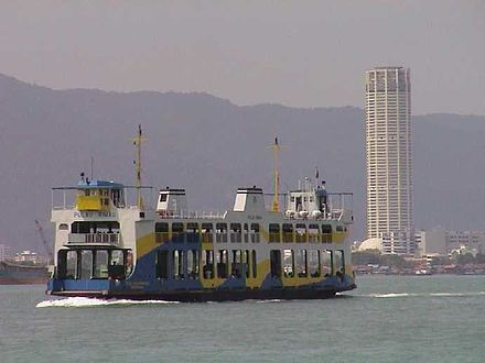 A Rapid Ferry crossing the Penang Strait towards George Town. Penang ferry.jpg