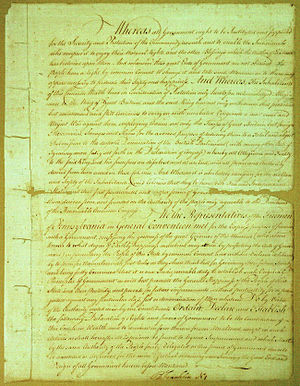 Pennsylvania Constitution of 1776 - Pennsylvania Constitution of 1776