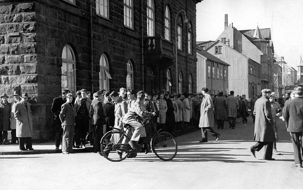 People gather in front of the House of the Althing, March 30th 1949