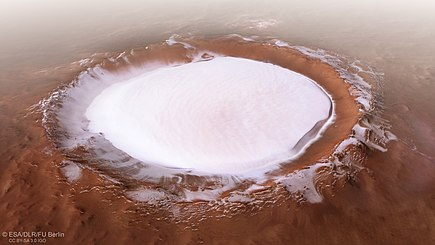 Perspective view of Korolev crater shows 1.9 kilometres (1.2 mi) deep water ice. Image taken by ESA's Mars Express. Perspective view of Korolev crater.jpg