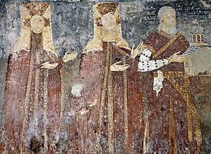 Petar Brajan - Fresco of Petar Brajan and two female relatives