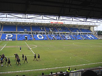 London Road Stadium Peterborough United's South Family Stand beginning to fill up - geograph.org.uk - 154824.jpg