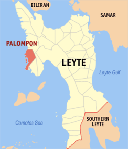 Map of Leyte with Palompon highlighted