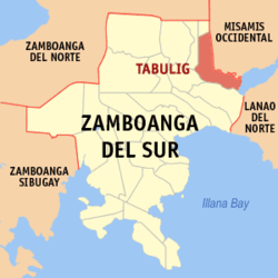 Map of Zamboanga del Sur with Tambulig highlighted
