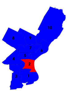 Map of Philadelphia showing city council districts