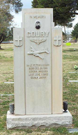 St. Francis Catholic Cemetery -  Headstone in the memory of 1st Lt. Peter E. Coury whose plane was lost on June 1, 1945, during a bombing raid over Osaka, Japan.