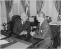 Photograph of President Truman in the Oval Office conferring with Judge James P. McGranery, whom he has nominated to... - NARA - 200370.tif