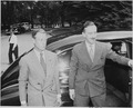 Photograph of the Duke of Windsor and an unidentified man (possibly M. J. Balfour), outside the White House on the... - NARA - 199164.tif