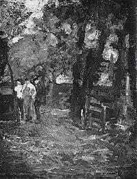 Piet Mondriaan - Three farm workers near a gateway - A49 - Piet Mondrian, catalogue raisonné.jpg