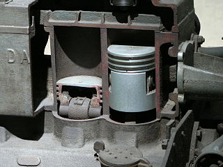 Piston moving component of reciprocating engines that is contained by a cylinder and is made gas-tight by piston rings