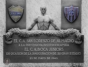 La Bombonera -  Placque donated by San Lorenzo de Almagro on the occasion of the inauguration of La Bombonera, May 1940.